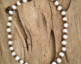 White Pearls and Leather Knotted Necklace