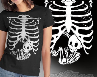 Pregnant Baby Skeleton Rib Cage -SD1133W- T-Shirt Funny Pregnancy Costume Baby Shower Party Maternity Humor Gag Gift Tee Shirt