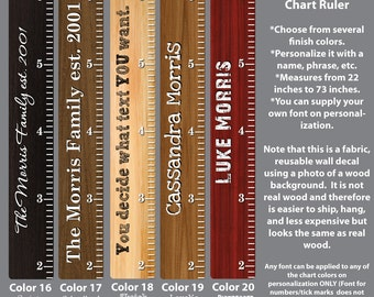 Wooden Growth Chart Ruler, Height Chart Wall Decals, Growth Chart Stickers, Wood Rulers WRO