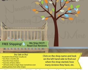 Kids Room Tree Decals with leaves, Nursery Wall Decal, Brown Tree Stickers (BlueOrng/Paradise) SmTO