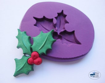 Mistletoe Mold - Christmas Holiday Mold - Silicone Mold - Polymer Clay Resin Fondant