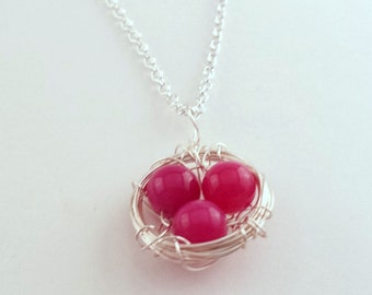 Pink Eggs or Blue Eggs in Bird Nest Necklace, Striate Agate Gemstone Beads, Silver Nontarnish Wire & Chain