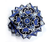 "Blue & White Talavera Style Coasters/ Talavera Tiles -- ""Four Point Star"" -- Set of Four"