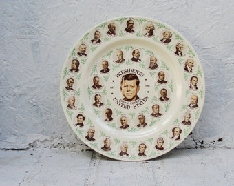 Vintage JFK Presidents of United States Plate.  John F. Kennedy. Collector Plate