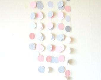 Pale Pink, White & Silver glitter circle garland  - silver glitter garland, silver shimmer garland, glitter circle garland