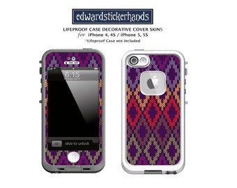 Lifeproof Case Purple Argyle Decorative Cover Skin Decal for iPhone 4/4S, 5/5S, 5C, 6, 6Plus, 7, 7Plus