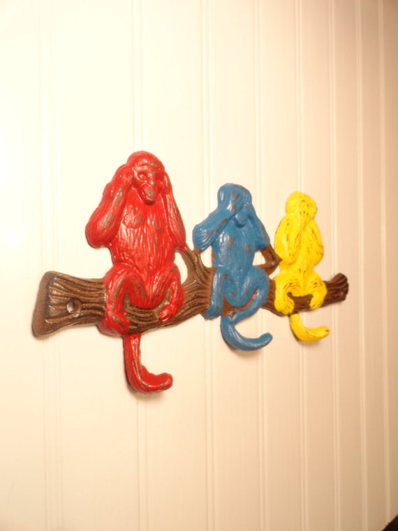 Wall hook monkey wall decor nursery decor kids by junkintime - Kids decorative wall hooks ...