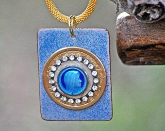 Wonderful Enamel Necklace, Handmade, One of a Kind, Italian Enamel Charm, Rhinestones, Made by me Carol Woodall Gold, Blue