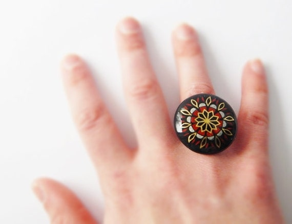 Beautiful Vintage Upcycled Antique Bronze Adjustable Ring - Black, Gold, & Red -
