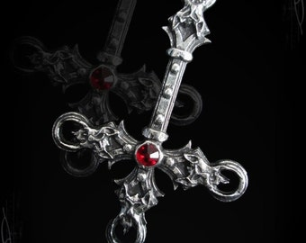 Handmade inverted cross with 4 demon heads, The blasphement