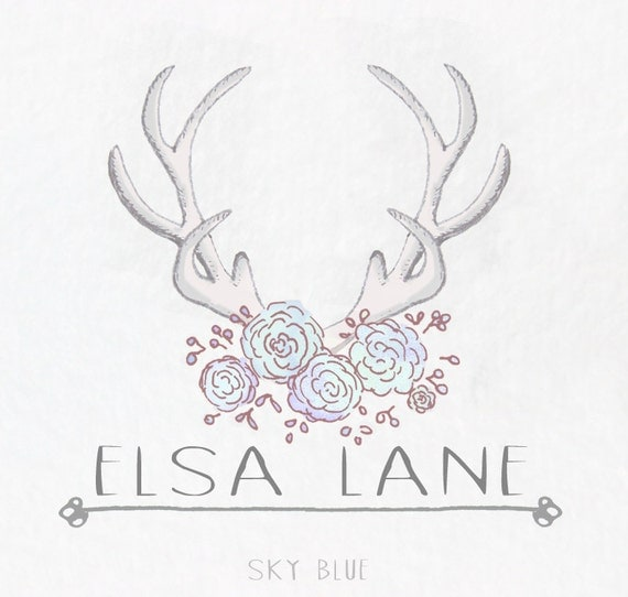Watercolor Antler and Flowers Logo: Premade Business Logo with 4 color options!