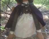 Primitive hooded black cape swamp witch doll Selma
