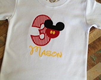 Mickey applique birthday shirt