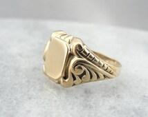 Ornate Victorian Revival Signet Ring 1AH6MK-D
