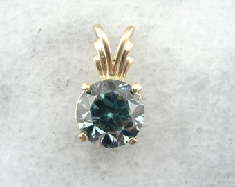 Steely Blue Zircon Gemstone in Radiant Gold Pendant - K6DAF2-D