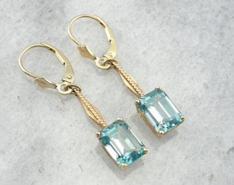Vintage Drop Bar Blue Zircon Earrings JUY2FT-D
