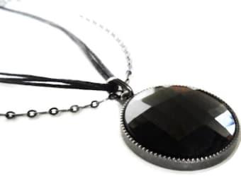 Vintage Cushion Cut Glass Pendant Multi Chain Necklace