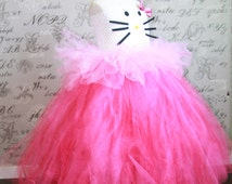 HELLO KITTY Cat Costume Tulle Tutu Dress-up Halloween Costume Photo Prop Tutu Children Toddler Infant Custom Crochet Disney Disney Princess