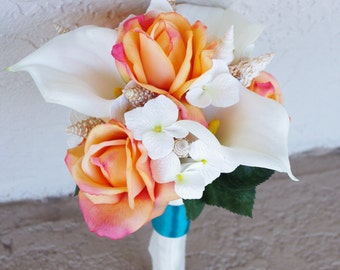 Wedding Natural Touch Beach Seashells Off White and Orange Roses and Callas Silk Flower Bride Bouquet - Almost Fresh