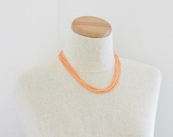 Peach seed bead necklace, coral necklace, peach necklace, coral necklace, pink necklace, salmon