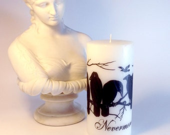 The Raven Nevermore Gothic Candle Halloween Decor - Black and White Candle - Poe Decor - Gothic Home Decor - Crow Decor - Halloween Candle