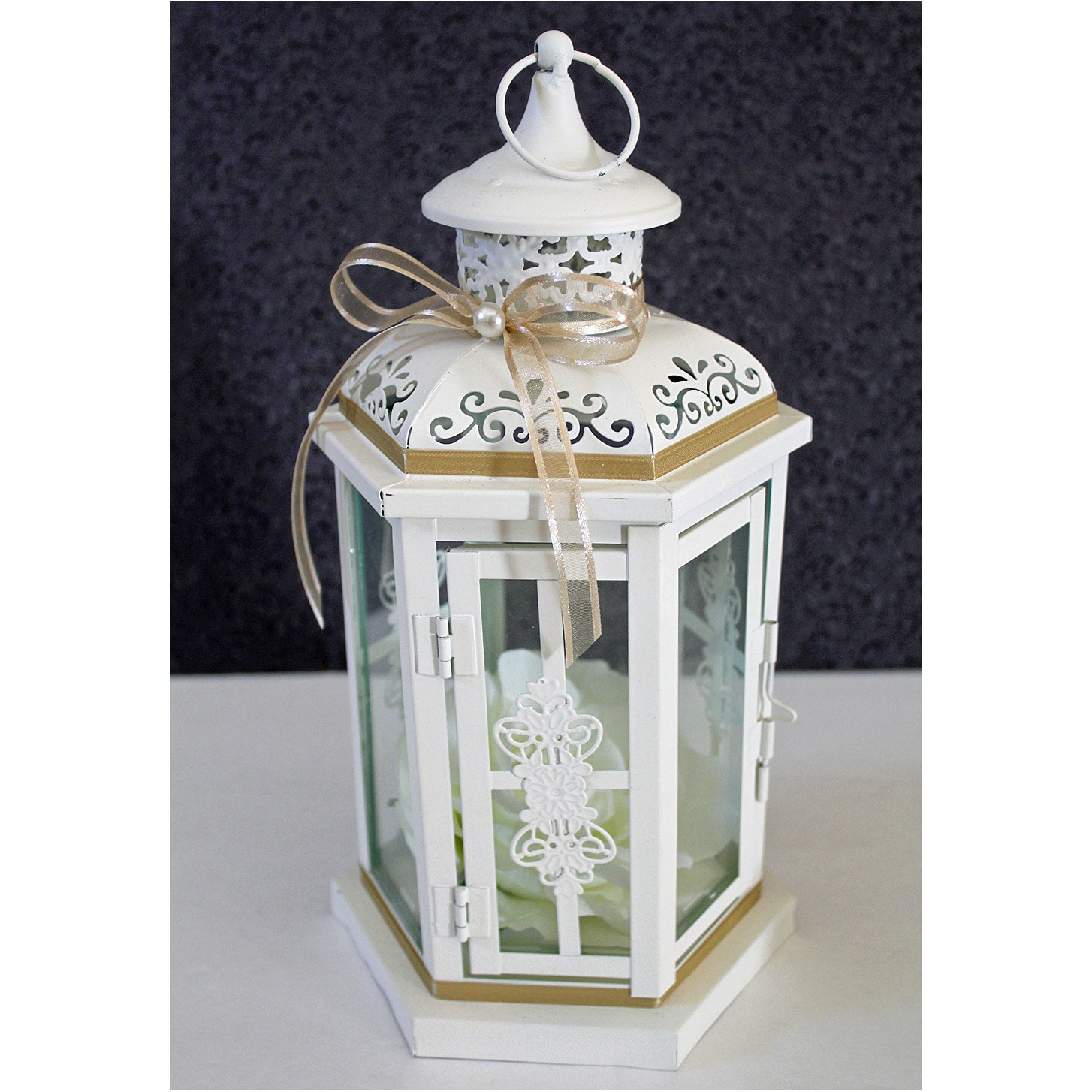 Wedding lantern centerpiece antique white ivory by
