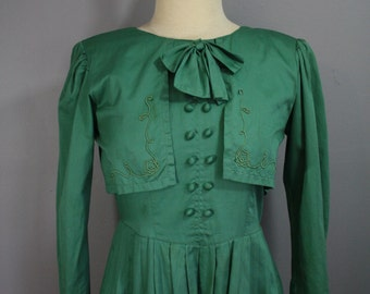 Vintage Edwardian Inspired Dress // Green Cotton Blend with Bow // Small