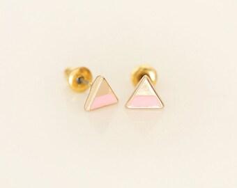 Pink Triangle earring studs - Enamel Geometric earring studs