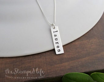 Silver Bar Charm Necklace, Sterling Silver Jewelry,  Hand Stamped Charm, Custom Necklace, Engraved Charm, Name Necklace