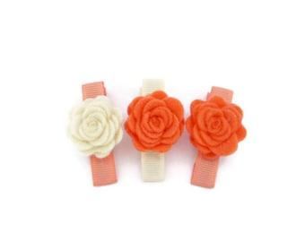 Felt Flower Hair Clips/ Cream And Orange Hair Clips/ Orange Flower Hair Clips/ Trio Flower Hair Clips/ Felt Flower Hair Clips Set