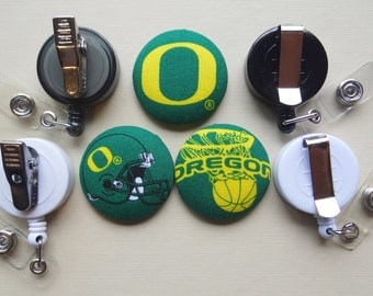 Retractable Badge Holder - Fabric Covered Button - University of Oregon (Ducks)