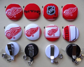 Retractable Badge Holder - Fabric Covered Button - Detroit Red Wings