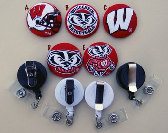 Retractable Badge Holder - Fabric Covered Button - Wisconsin Badgers