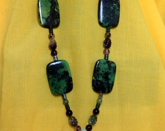 "Jade, African Fan Jasper, Aventurine, Chrysoprase and fluorite bead necklace, 35"" in length"
