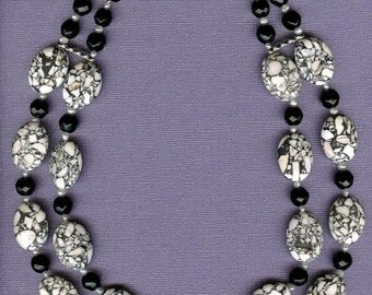 Double the Fun - Jasper, Onyx, Freshwater Pearls, Sterling Silver Necklace
