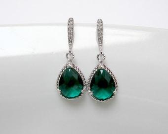 zirconia emerald earring , emerald drop earring , emerald stone earring , bridesmaid green earring , green cz earring , green earrings