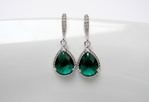 zirconia emerald earring , emerald drop earring , emerald stone earring , bridesmaid green earring , green cz earring , green earrings