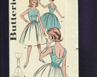 Vintage 1960's Butterick 9739 Tammy Dress with Bateau Neckline & Rear Button Shoulder Straps  Size 12