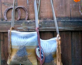 Native American Tee Pee Tote Leather Strap Pendleton Wool Bag