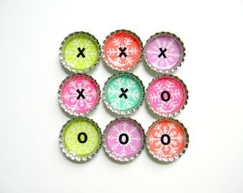 Tic Tac Toe - Bottle Cap Magnets - Snowflakes - Set of 10