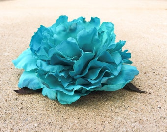 Large Flower Hair Clip Teal Blue Floral Fabric Accessory Fascinator Hat Pin Brooch Natural Bridal Wedding Masquerade Burlesque Head Piece