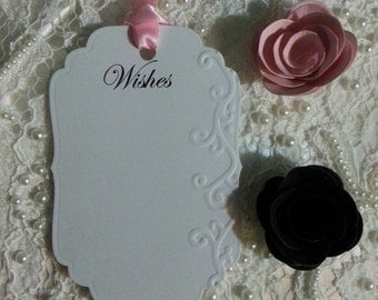100 WISH TREE TAGS Embossed  Adorned With A Pink  Satin Ribbon