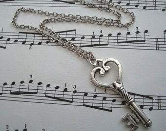 Silver key necklace - antique silver charm - vintage style