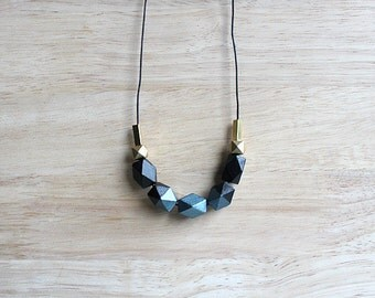 wooden geometric necklace, black metallic teal blue necklace for girls, women, everyday jewelry