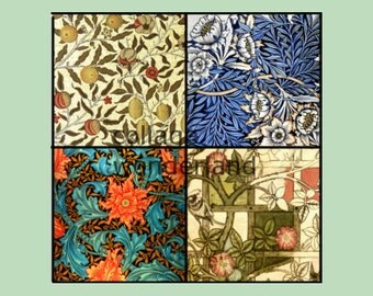 William Morris Collage Sheet 1 Inch Squares Floral