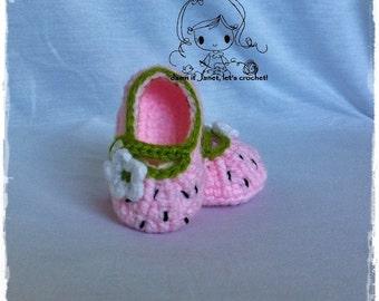 Strawberry Shortcake Booties (newborn - 12 months) - PDF Crochet Pattern - Instant Download