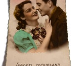 Romantic French Postcard . Vintage Sweetheart Card .