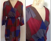 Eighties vintage surplice wrap dress // large 10 12 red blue gray sexy deep v crossover neck 1980