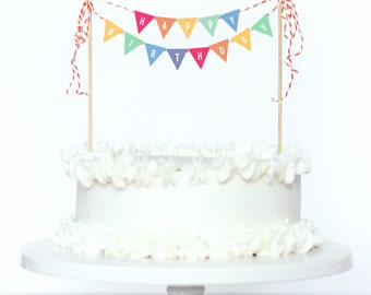 Cake Bunting, Rainbow Printable A4 Party Cake Bunting