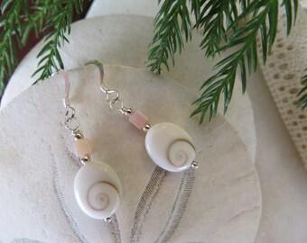 Shiva Shell Earrings, Shell Earrings, Sterling Silver Earrings, Pink River Shell Earrings, Pink Earrings, White Sea Shell Beach Earrings